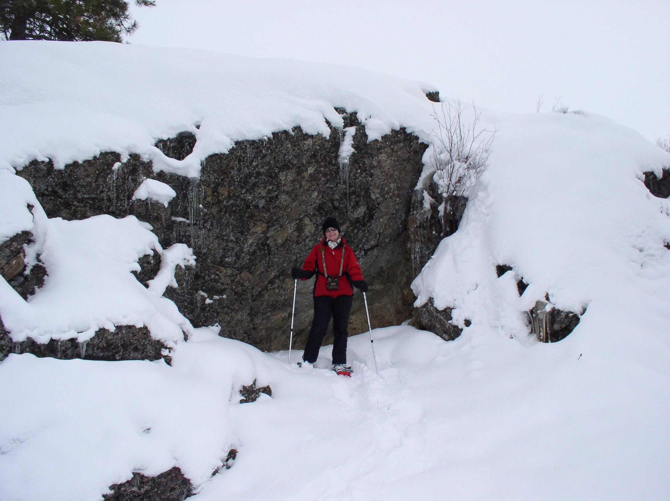 Karen, cliffs, and icicles.